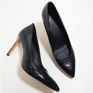 B Brian Atwood Embossed Leather Pumps